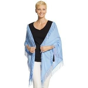 NEW Chico's Blue Mallory Fringed Triangle Wrap